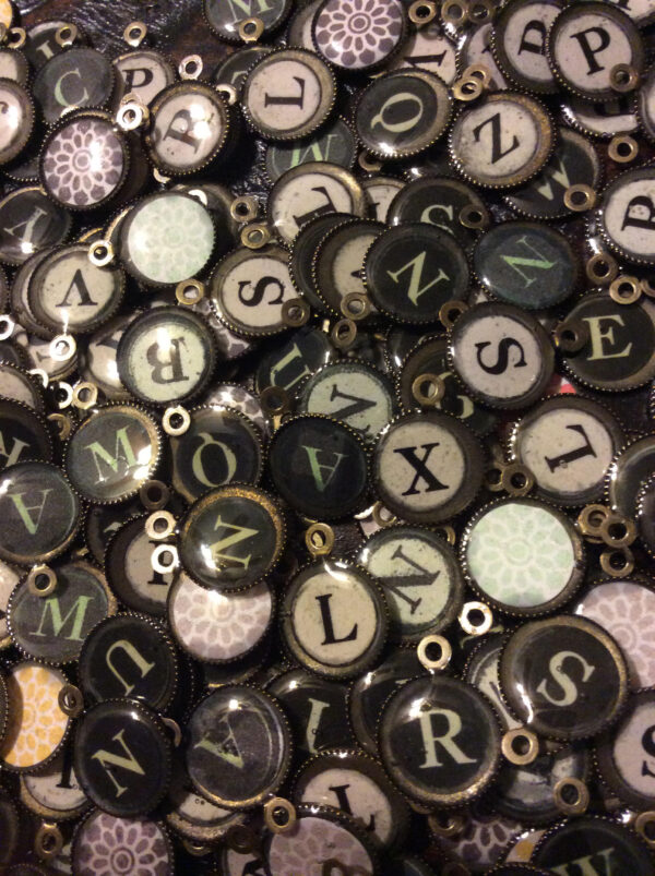 Handmade 1 inch pendants (Typewriter letters) (Specify the initial/ letter you want) (note these are not actual old typewriter keys, but new handmade pendants)