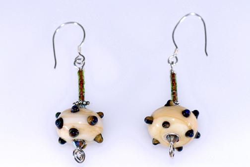Marbled Ivory with Raku dots