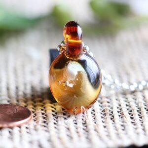 Amber glass pendant #11